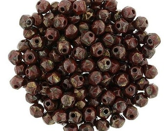 Czech Faceted Opaque Red Picasso Firepolish Glass Beads 3mm (50) 1-03-T9320