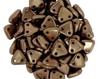 Dark Bronze CzechMates Triangle 2 Hole Glass Beads 6mm (50)