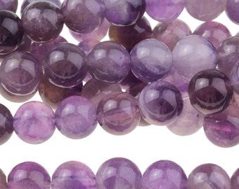 "Dakota Stones Dog Teeth Amethyst 6mm Round Gemstones. 8"" Strand. DTA6RD-8"