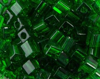 Transparent Green Miyuki Cube Seed Bead 4mm 20gm Tube SB4-146-TB