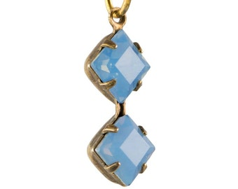 Blue Opal Faceted Square Glass Stones Double 1 Loop Brass Ox Setting 6mm (4) squ014NN3