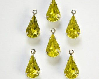 Olivine with a Touch of Jonquil Acrylic Teardrop Stone 1 Loop Silver Setting (6) par014B