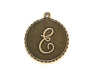 Brass Ox Letter E Initial Charm Drop with Loop (1) chr195E
