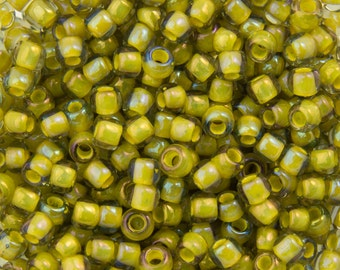 "Inside Color Luster Black Diamond / Opaque Yellow Lined Toho Seed Bead 11/0 2.5"" Tube TR-11-246/C"