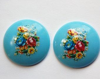 Vintage Blue Floral Domed Cabochons 28mm (2) cab760J
