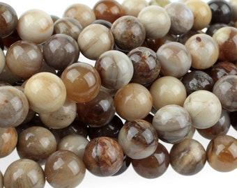 "Dakota Stones Wood Opalite 8mm Round Gemstones 8"" Strand WOP8RD-8"