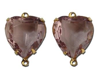 Light Amethyst Purple Glass Heart Pendants in 2 Loop Gold Plated Setting 15mm hrt003K2