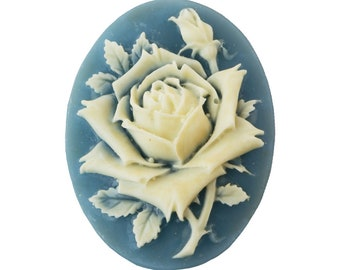 Vintage Off-White Rose on Blue Cameo 40x30mm (1) cab744A