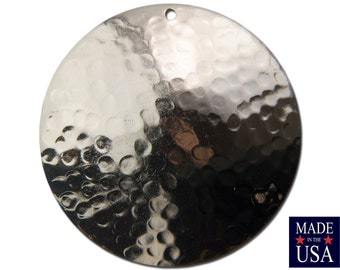 Silver Plated Hammered Dapped Domed Circle Pendant 35mm (4) mtl101B