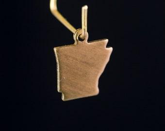Raw Brass Tiny Arkansas Blank State Charm Drops 12x10mm (6) chr228AD