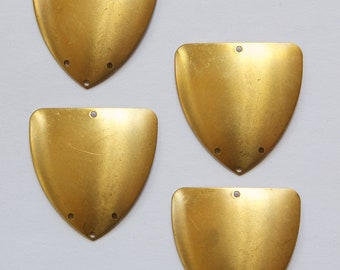 4 Hole Raw Brass Dapped Triangle Connector Pendant (4) mtl174