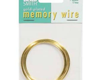"Beadsmith Gold Plated Memory Wire 2"" Diameter, 12 Loop"