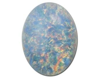 Blue Opal Oval Glass Cabochons 18x13mm (2) cab5005C