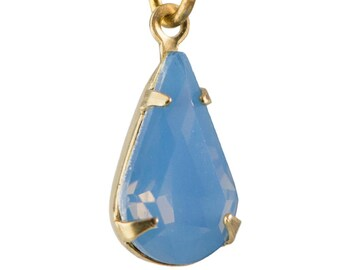 Blue Opal Faceted Teardrop Stone in 1 Loop Brass Setting 13x8mm (4) par003AW