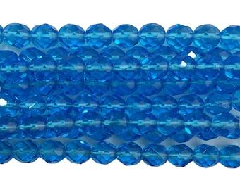 Transparent Faceted Aqua Glass Beads 8mm (30) bds1501C