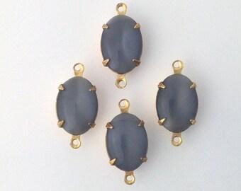 Vintage Grey Moonglow Glass Stone 2 Loop Brass Setting 14x10mm ovl009N2