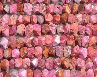 "Dakota Stones Pink Crazy Lace Agate 7x12 Faceted Nugget Beads Gemstones. 8"" Strand. PKL7x12NUG-F-8"
