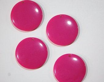 Vintage Acrylic Pink Circle Disc Charm Pendant chr179