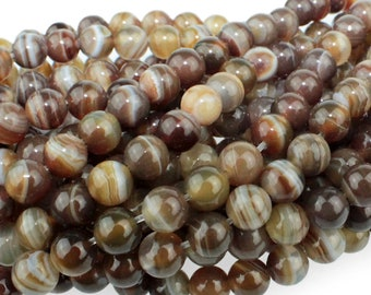 "Dakota Stones Brown Sardonyx 6mm Round Gemstones 8"" Strand BSX6RD-8"
