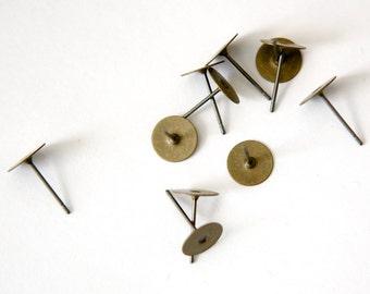 Antiqued Bronze 8mm Flat Pad Setting Earring Posts w/ Nuts (40) fnd003B