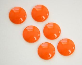 Vintage Orange Acrylic Cabochons 15mm (6) cab831F