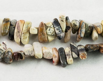 "Dakota Stones Black Silver Leaf Jasper 10-20MM Sticks Beads Gemstones. 8"" Strand. BSL10-20STi-8"