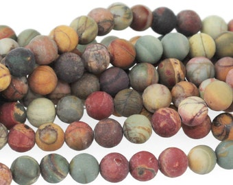 "Dakota Stones Matte Red Creek Jasper 6mm Round Gemstones. 8"" Strand. RCJ6RD-M-8"