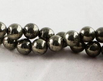 "Dakota Stones Pyrite 8mm Round Beads Gemstones. 8"" Strand. Pyr8RD-8"