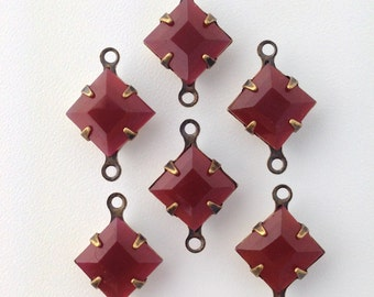 Vintage Carnelian Square Glass Stones 2 Loop Brass Ox Setting 8mm (6) squ017ZZ2