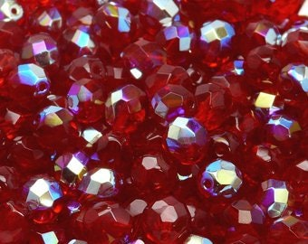 Czech Faceted Ruby AB Firepolish Glass Beads 4mm (50) 1-04-9010