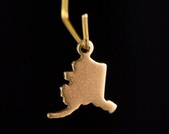 Raw Brass Tiny Alaska Blank State Charm Drops (6) chr228U