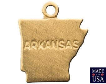 Raw Brass Tiny Arkansas State Charm Drops 11x9mm (2) chr202AD