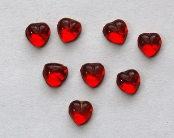 Vintage Little Ruby Red Foiled Glass Hearts 7mm (8) cab701E