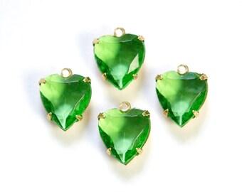 Vintage Faceted Peridot Glass Heart Pendants in 1 Loop Brass Setting 12mm hrt005G