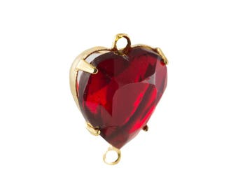 Vintage Faceted Ruby Glass Heart Pendants 2 Loop Gold Setting 12mm (4) hrt012F2