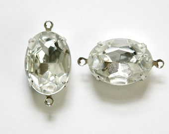 Faceted Crystal Clear Stones 2 Loop Silver Setting 18x13mm ovl004TT2