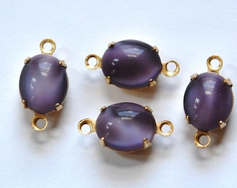 Vintage Purple Moonglow Oval Stones in 2 Loop Brass Setting ovl005B2