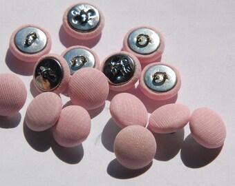 Vintage Pale Pink Silk Buttons 13mm btn003L