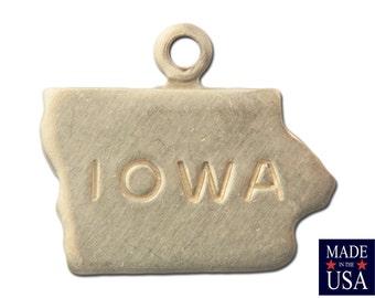 Raw Brass Tiny Iowa State Charm Drops 10x12mm (6) chr201NN