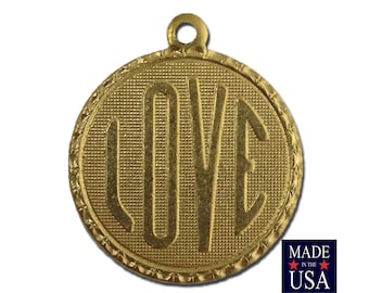 Raw Brass LOVE Word Charm Drop with Loop (1) chr190AA