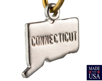 Shiny Silver Tiny Connecticut State Charm Drops 10x8mm (2) chr225SS