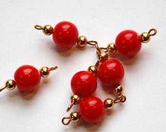 Vintage Red Acrylic Beaded Drop Connectors drp055A