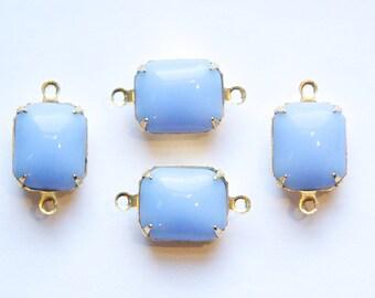 Vintage Periwinkle Blue Stones in 2 Loop Brass Setting 12mm x 10mm oct005K2