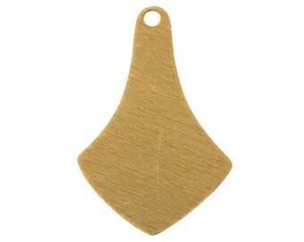 Raw Brass Flat Pointed Pendant Drops 23x16mm (6) mtl514A