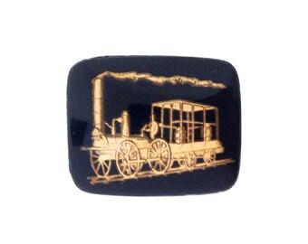 Vintage Steam Engine Train Gold Black Intaglio Cabochon (1) int019A
