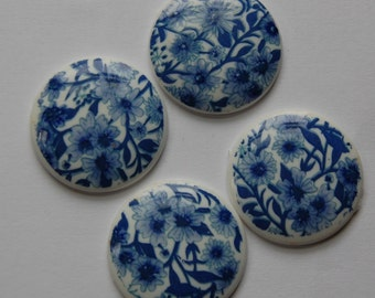 Vintage Blue and White All Over Floral Plastic Cabochon cab016B