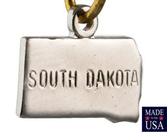 Shiny Silver Tiny South Dakota State Charm Drops (6) chr224S