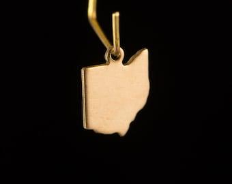 Raw Brass Tiny Ohio Blank State Charm Drops (2) chr229AA