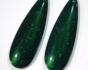 Large Vintage Acrylic Teardrop Pendant Sparkle Green pnd033J