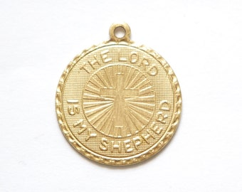 Raw Brass The Lord is my Shepard with Cross Word Charm Drop with Loop (1) chr190SS